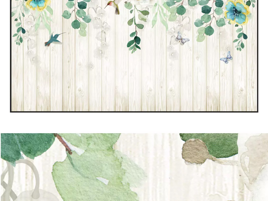 手绘花藤玫瑰花卉欧式木板背景墙壁画