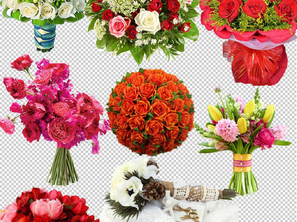 手捧花玫瑰花花束百合花牡丹花鲜花免抠图片下载png素材