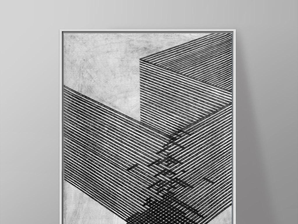 05 我图网提供精品流行直线折线转折黑白北欧现代抽象家居装饰画素材图片