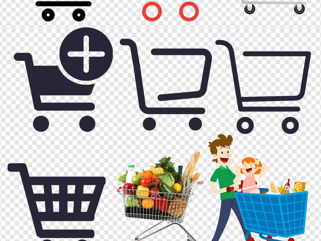 卡通超市购物车图标素材