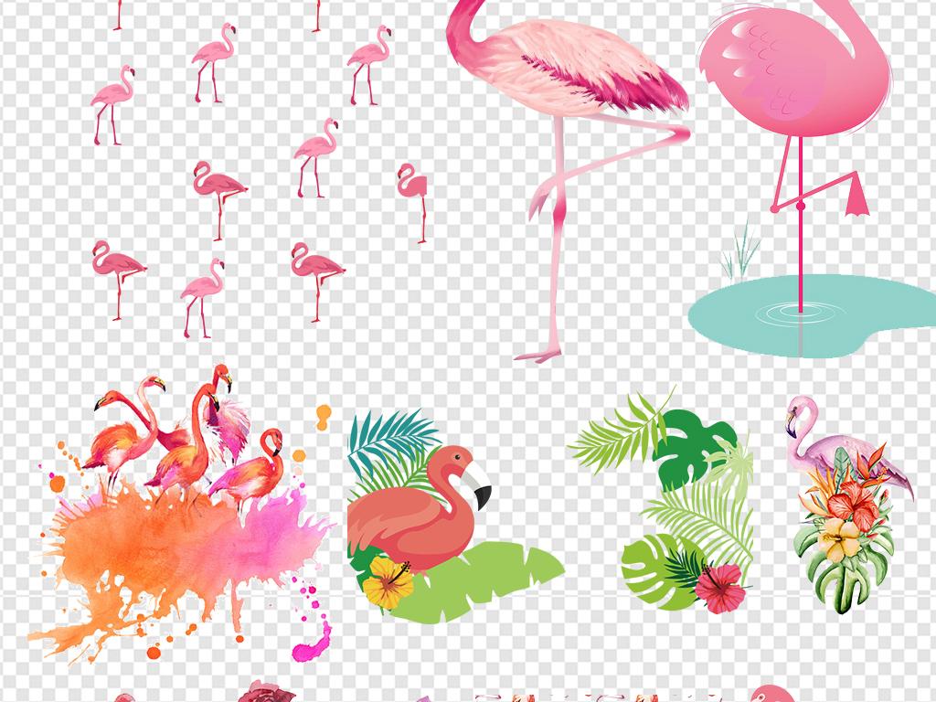 手绘森系火烈鸟背景墙壁纸壁画素材