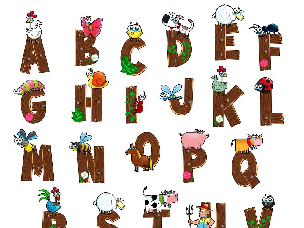 可爱儿童手绘幼儿园启蒙教育字母