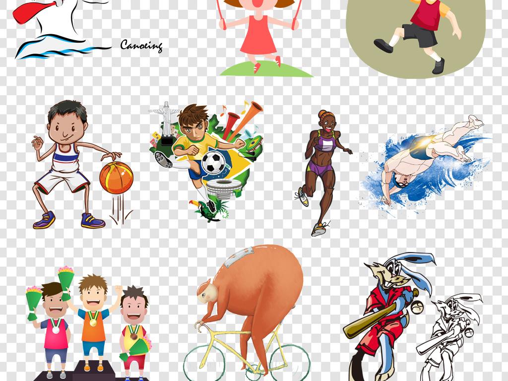 卡通手绘运动员体育项目png海报素材