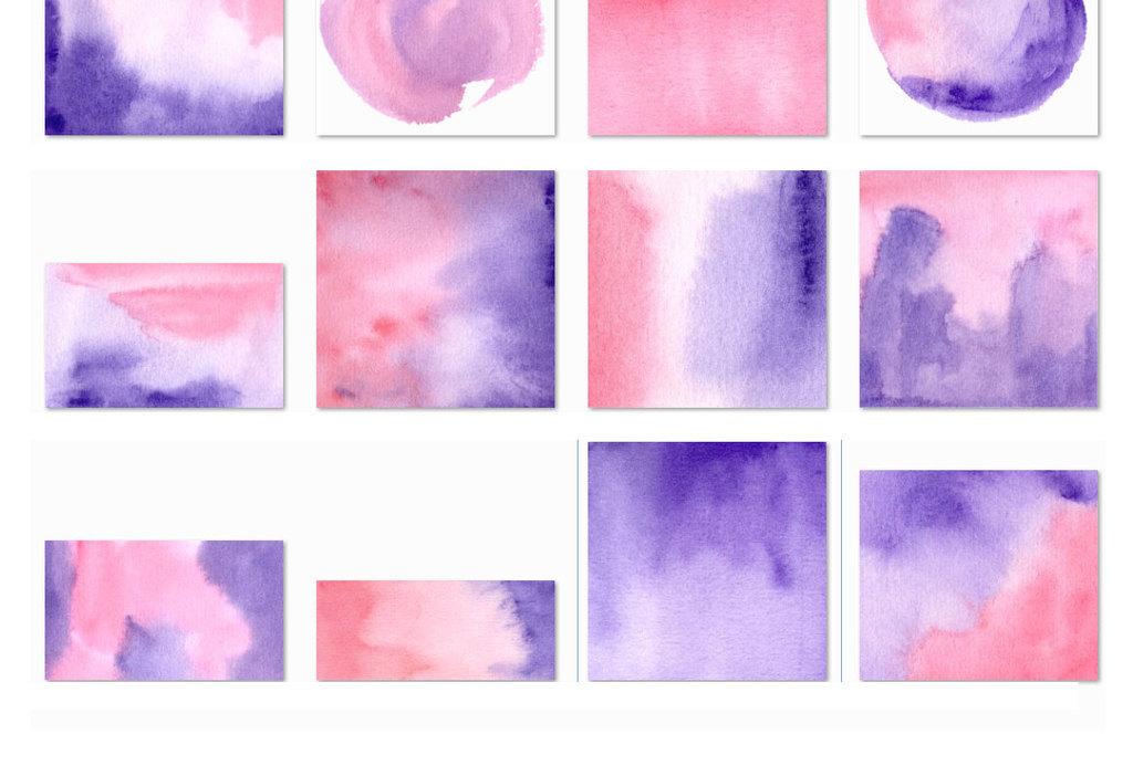 高清手绘水彩jpg背景图片紫色背景紫色小花