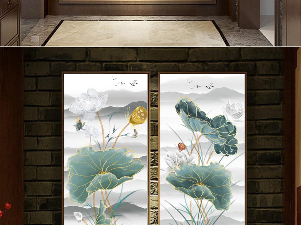 新中式风格手绘水墨荷花古典中式玄关装饰画