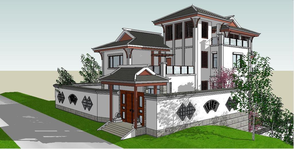 中式别墅花园庭院设计su(草图大师)模型图片
