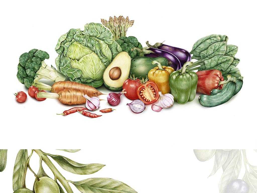 高清写实彩铅手绘新鲜蔬菜图案边框设计元素图片素材