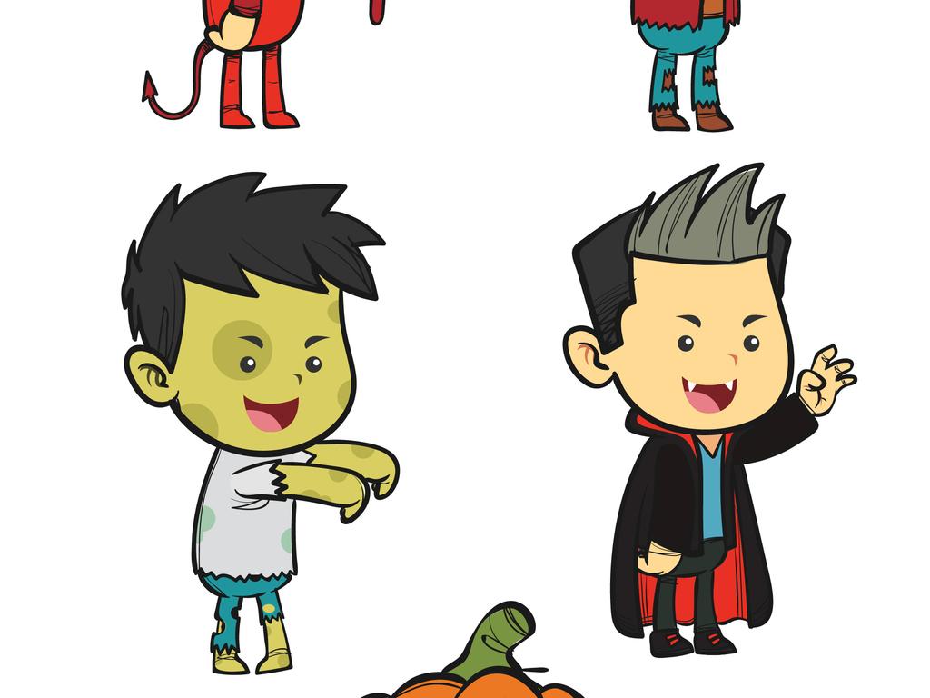 手绘插画风格万圣节装扮的儿童