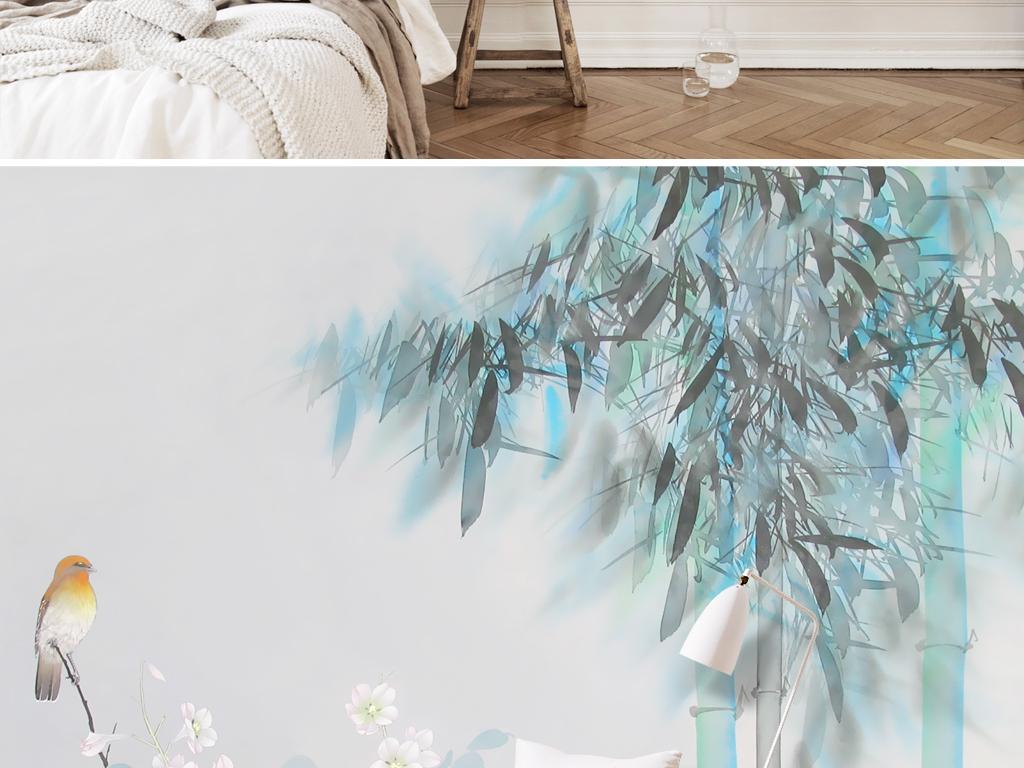 新中式水墨手绘彩墨竹子花鸟壁画背景墙