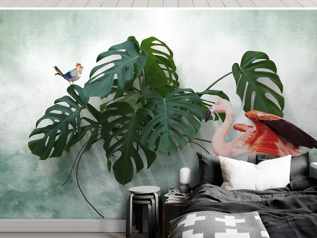 北欧小清新龟背叶火烈鸟背景墙壁画图片设计素材_高清