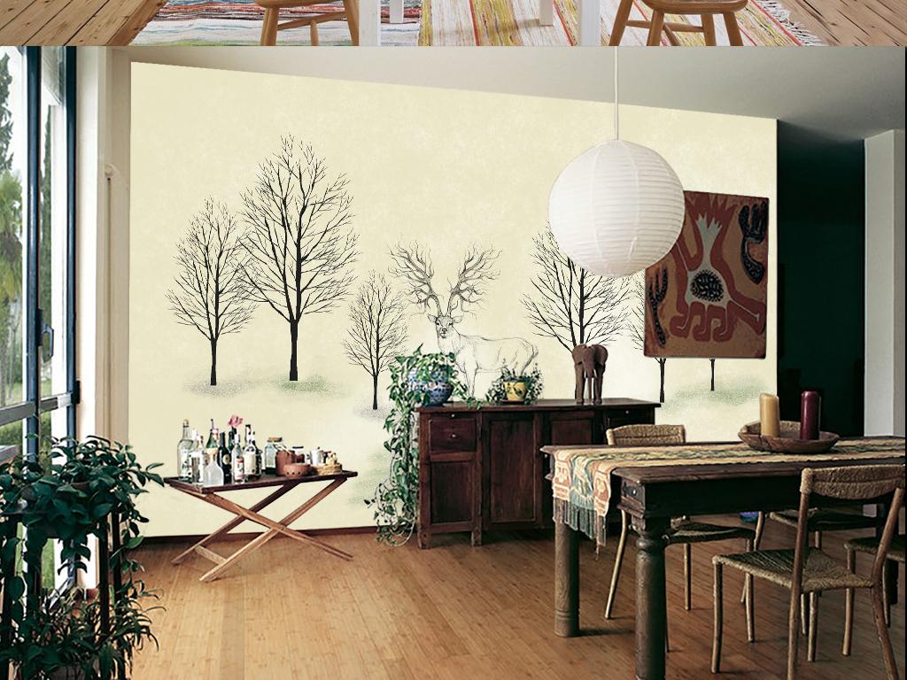 卡通手绘小鹿树林小鸟抽象树森林电视背景墙
