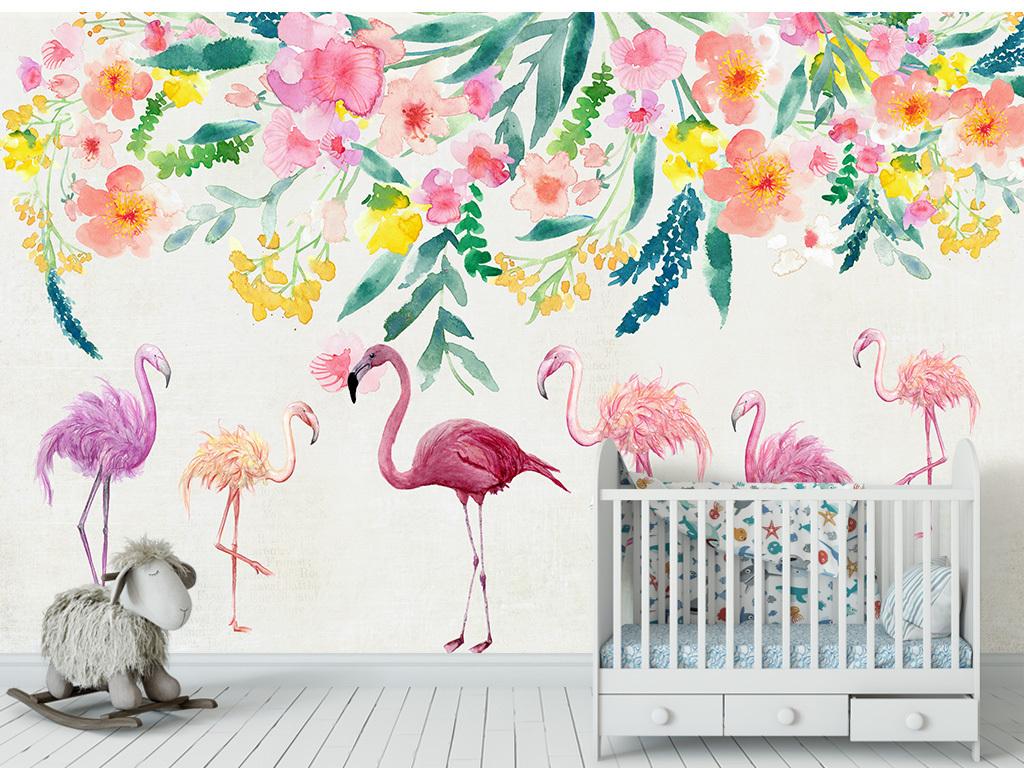 现代简约手绘火烈鸟花卉壁纸北欧背景墙