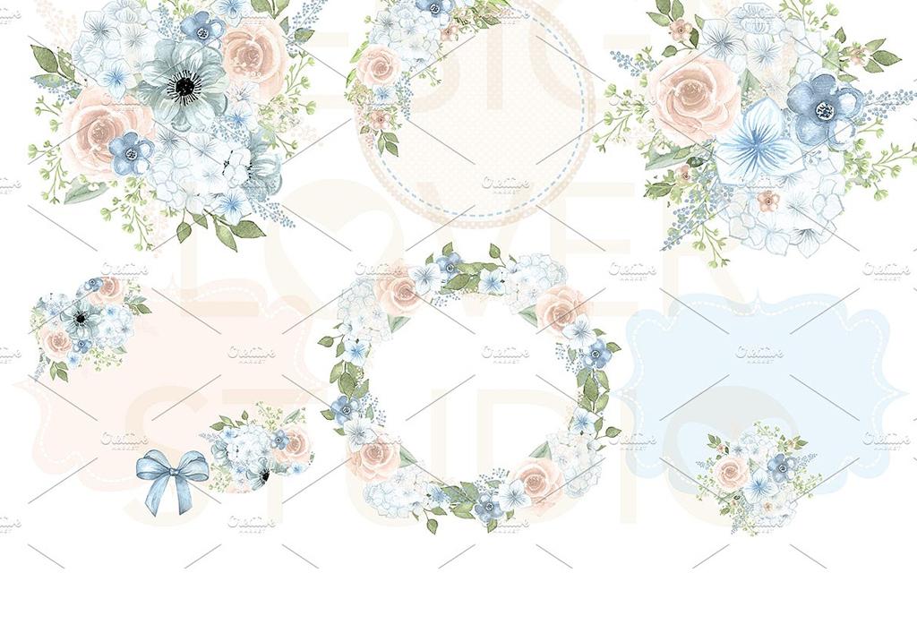 小清新蓝色水彩手绘花朵插画婚礼标签素材
