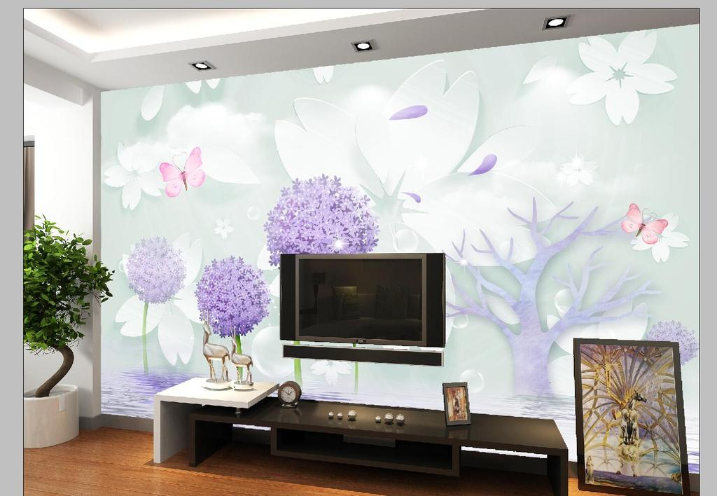 蒲公英蝴蝶3d立体电视背景墙素材下载,作品模板源文件可以编辑替换