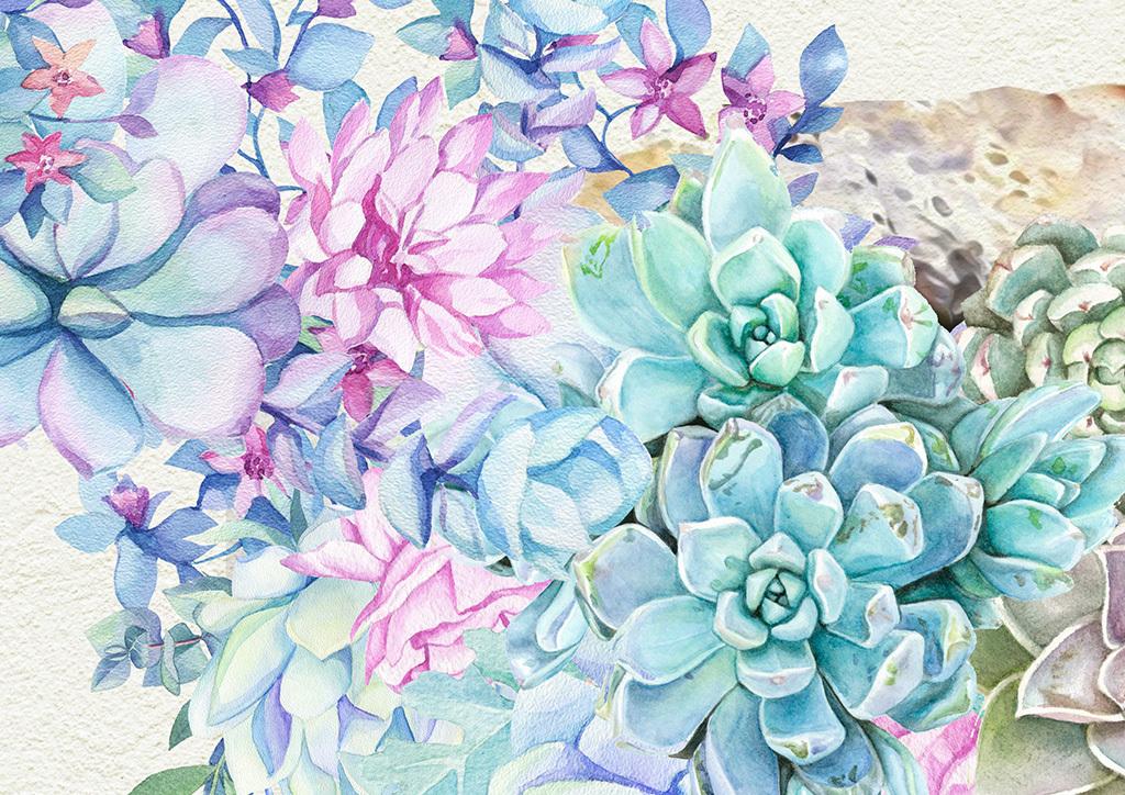 北欧植物花卉麋鹿客厅手绘大型背景墙壁画