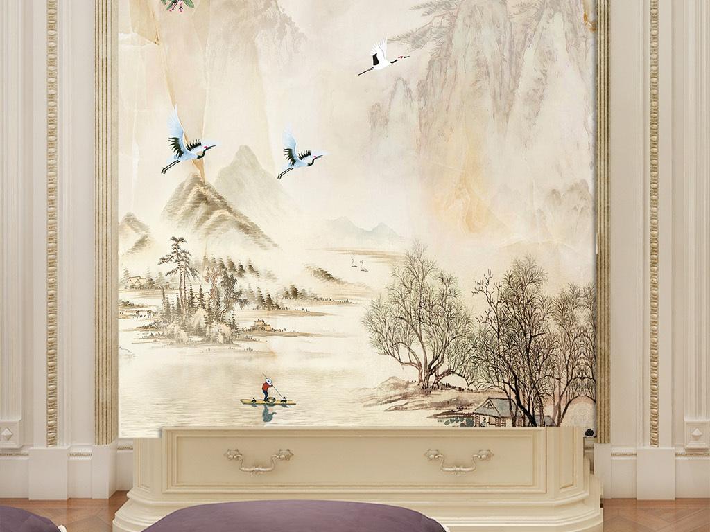 新中式工笔花鸟图山水画玄关背景