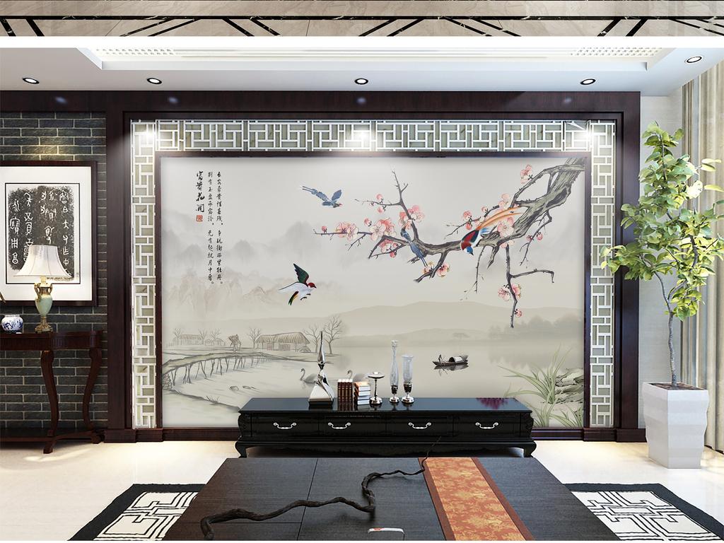 新中式手绘玉兰花鸟电视背景墙玉堂富贵