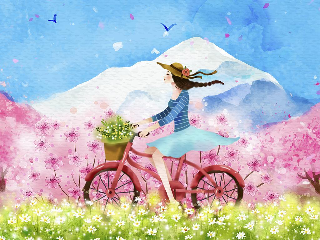 新欧式现代风清新手绘女生单车风景无框画