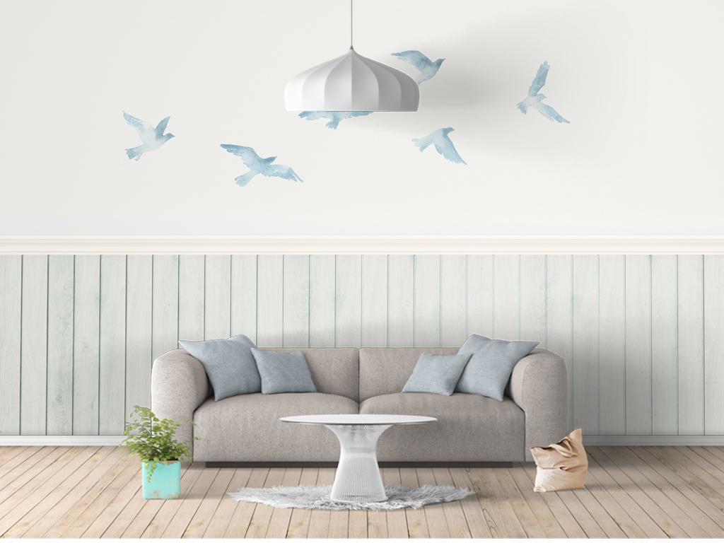 简约北欧清新鸽子飞鸟背景墙图片