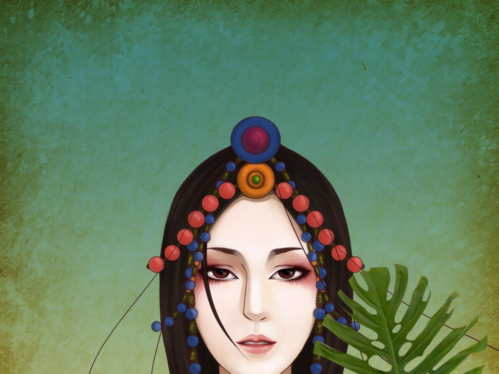 装饰画 现代简约装饰画 卡通动漫装饰画 > 手绘西藏女孩求佛无框画