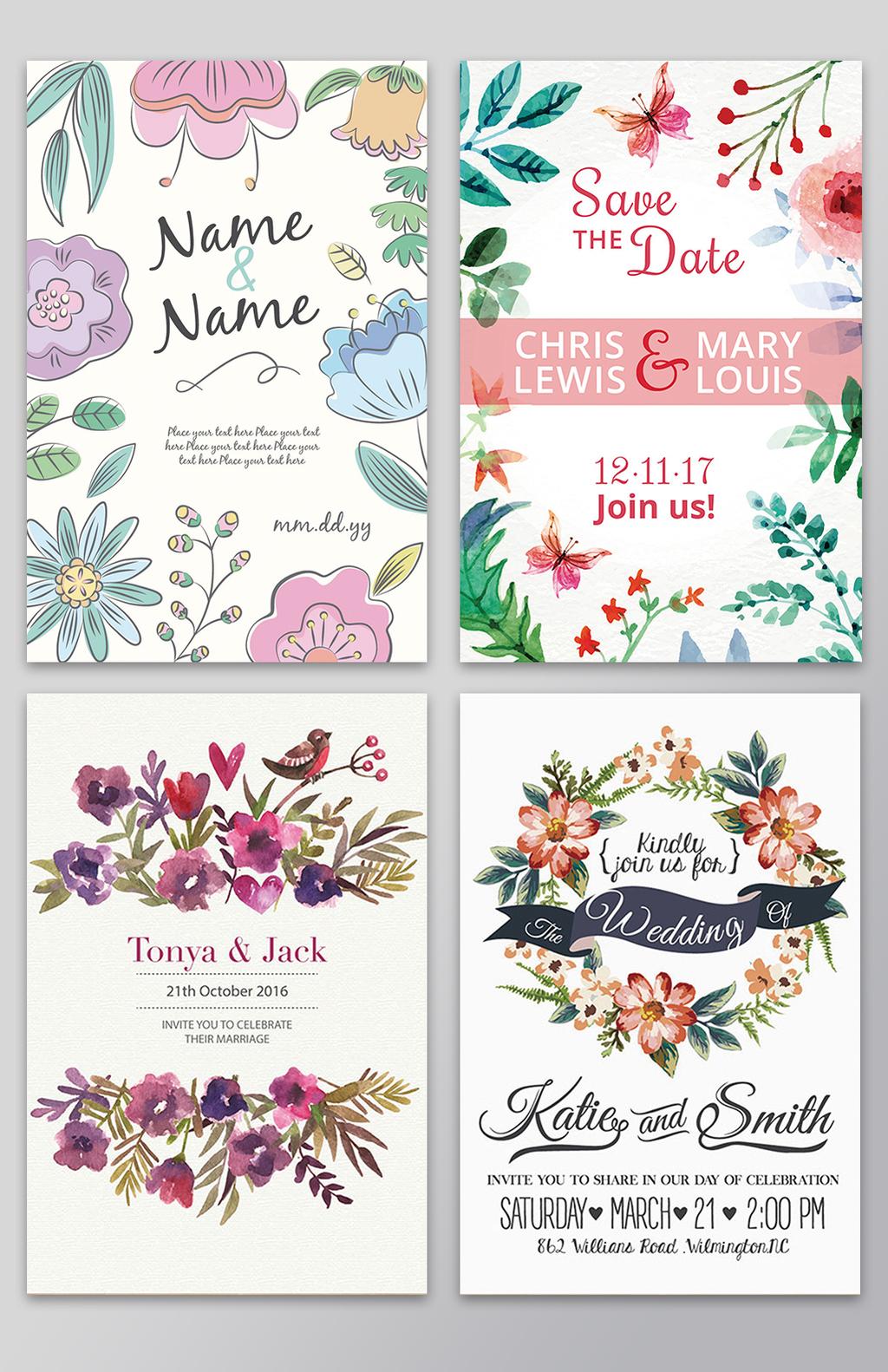 唯美手绘花卉叶子信封请柬背景矢量素图片设计素材 高清其他模板下