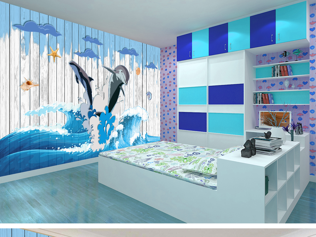 快乐海豚手绘儿童房背景墙
