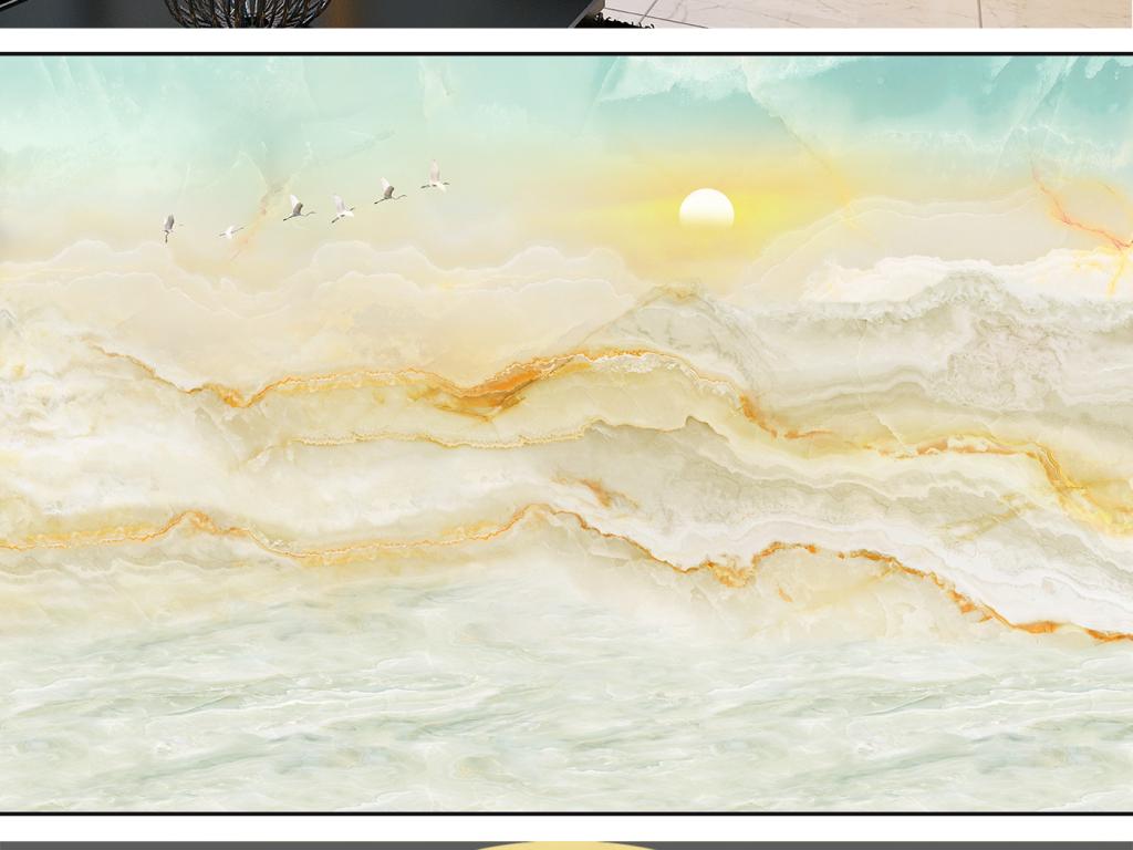 新中式大理石山水画