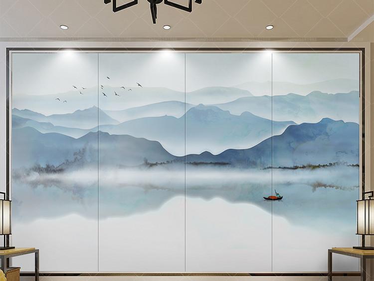 新中式中国风意境水墨山水电视沙发背景墙