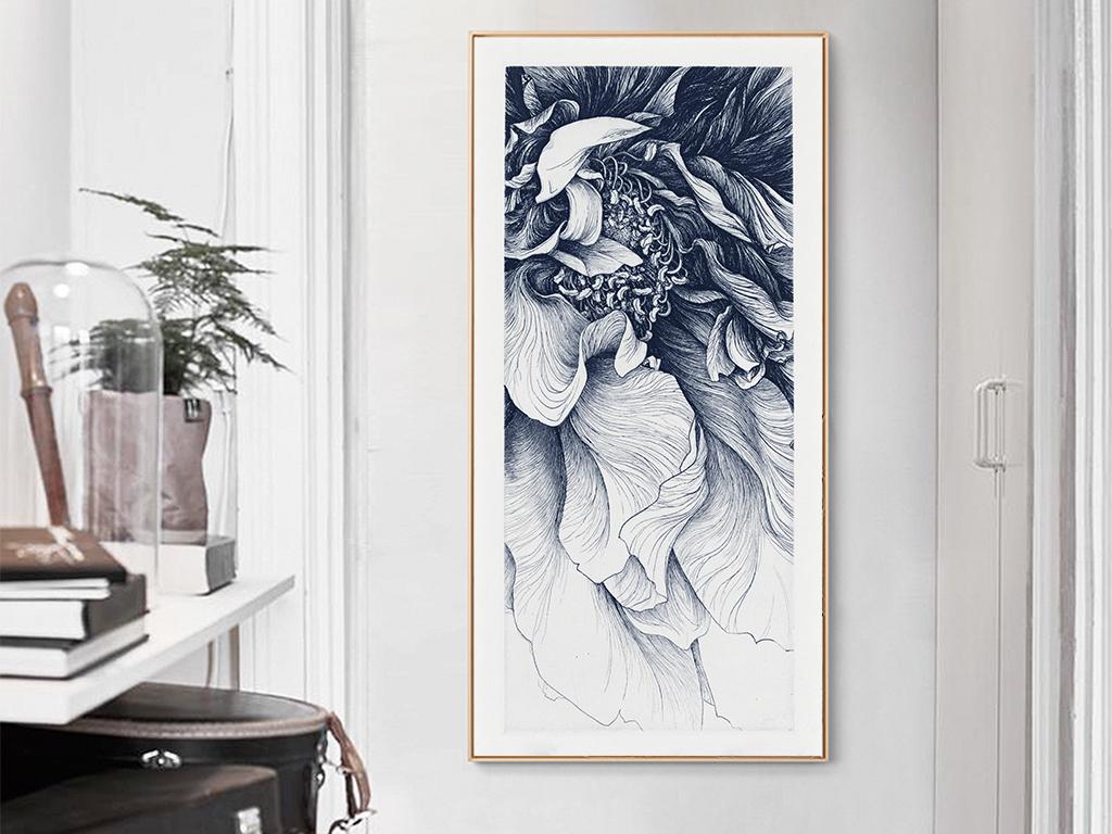 简约手绘线描花朵无框画图片