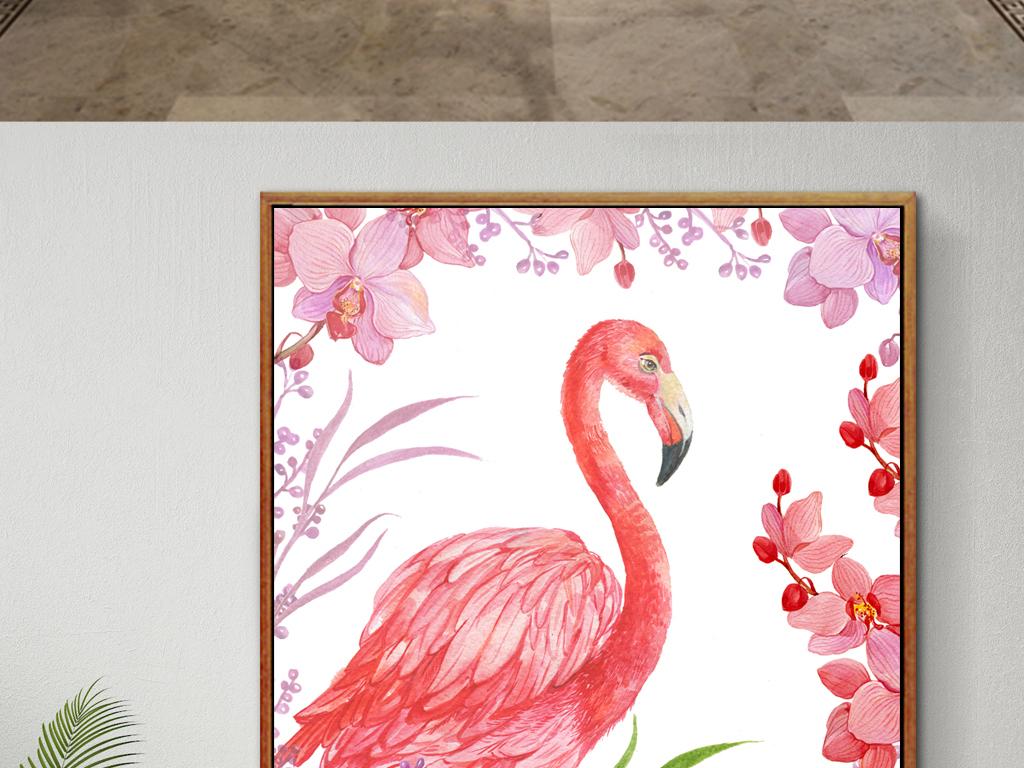 手绘火烈鸟花卉装饰画
