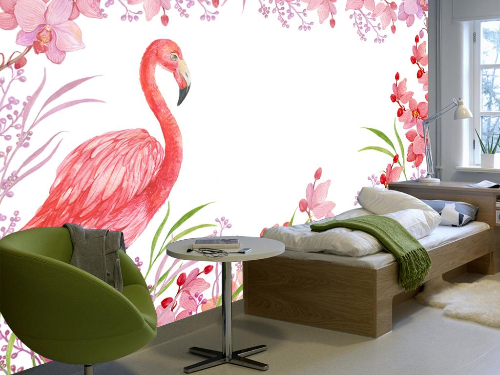 手绘花卉火烈鸟背景墙装饰画