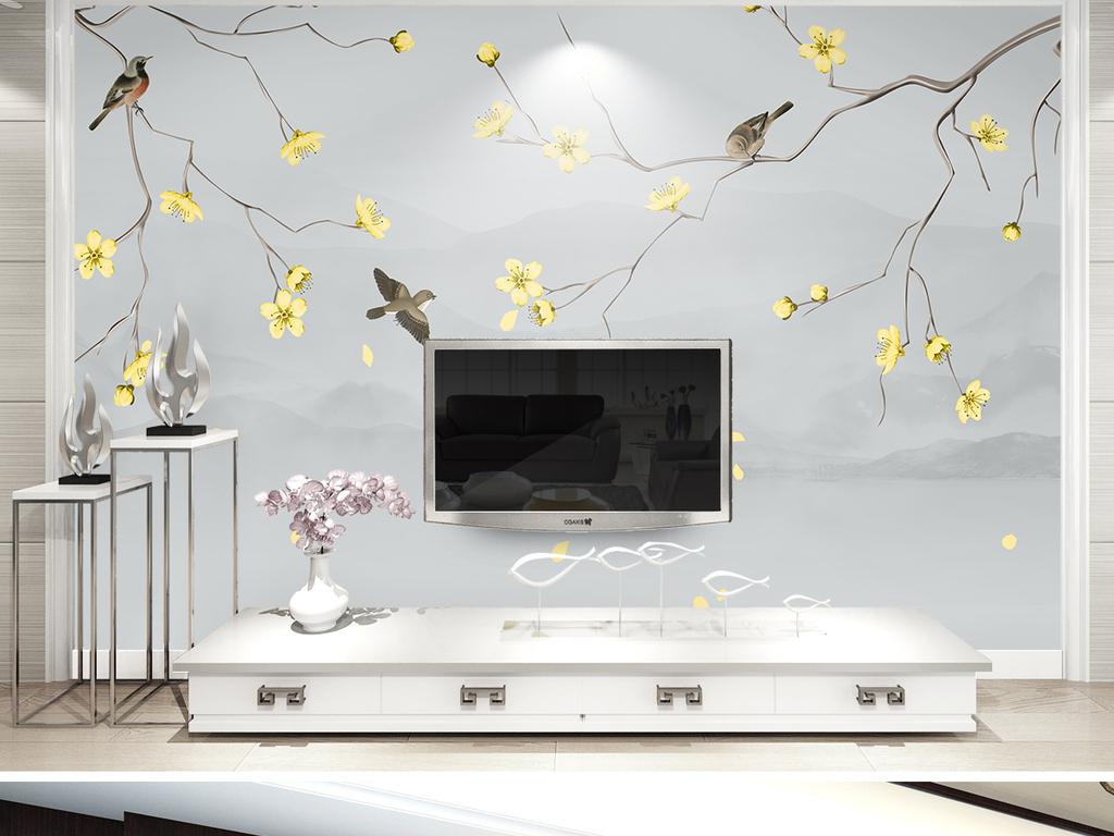 背景墙 电视背景墙 中式电视背景墙 > 梨花新中式手绘工笔花鸟山水