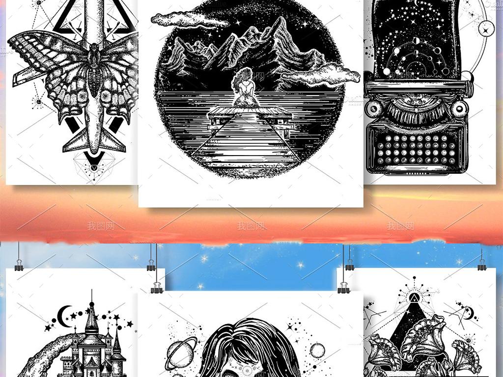 追逐梦想创意手绘涂鸦插画图案矢量设计元素