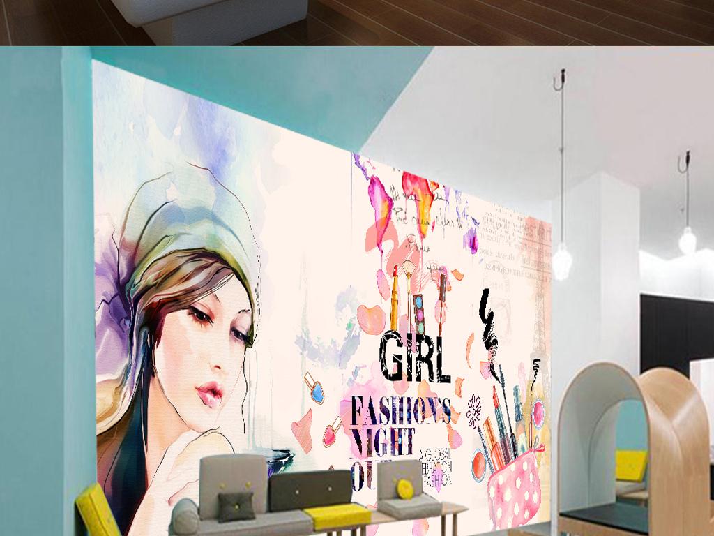 欧美手绘化妆品美甲店彩妆店背景墙15