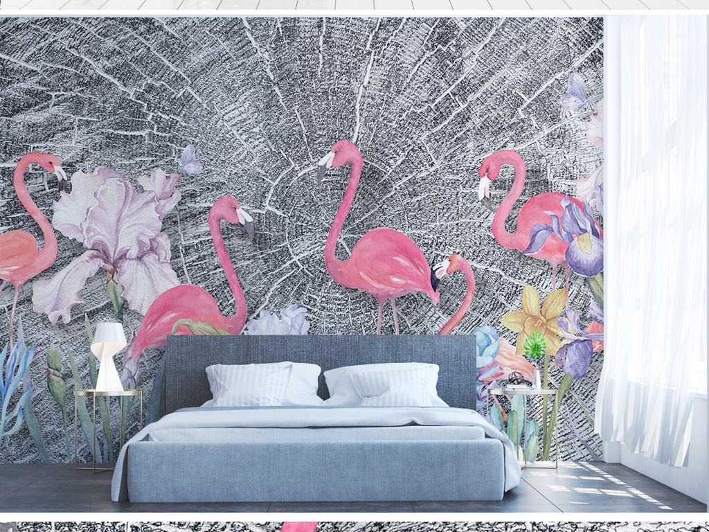 北欧小清新火烈鸟植物叶子背景墙壁画