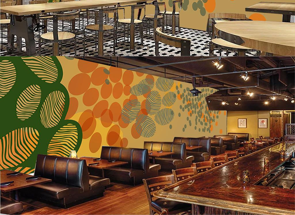 手绘个性抽象指纹斑点美食饭店背景墙