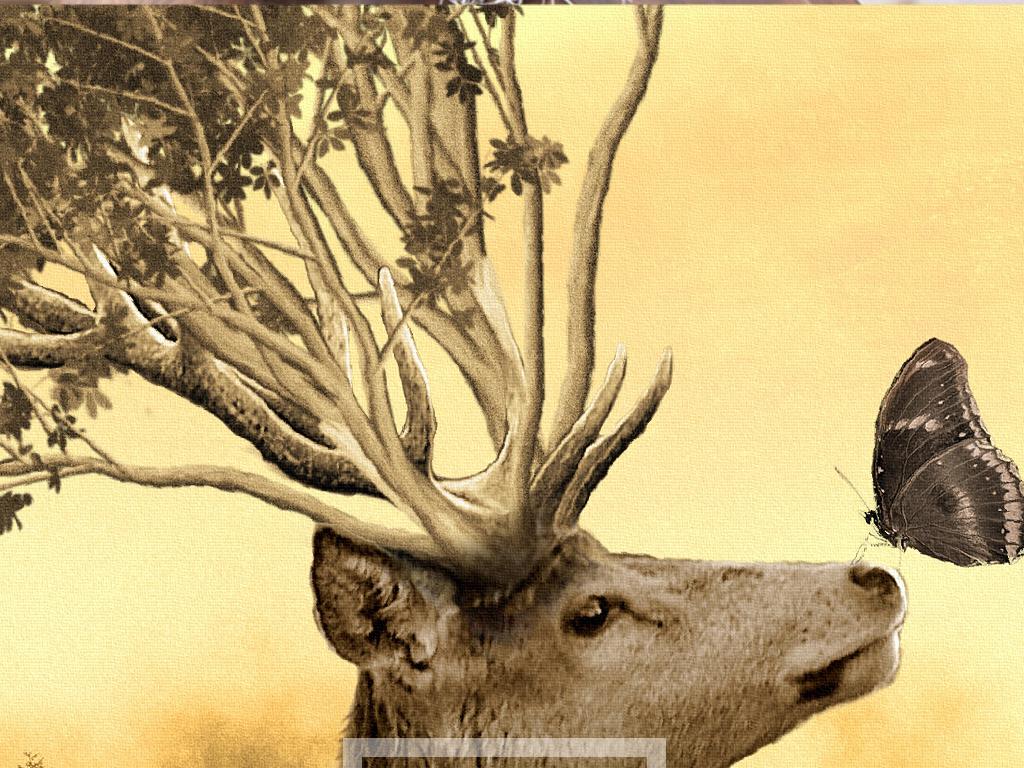 北欧复古麋鹿大海风景艺术装饰画