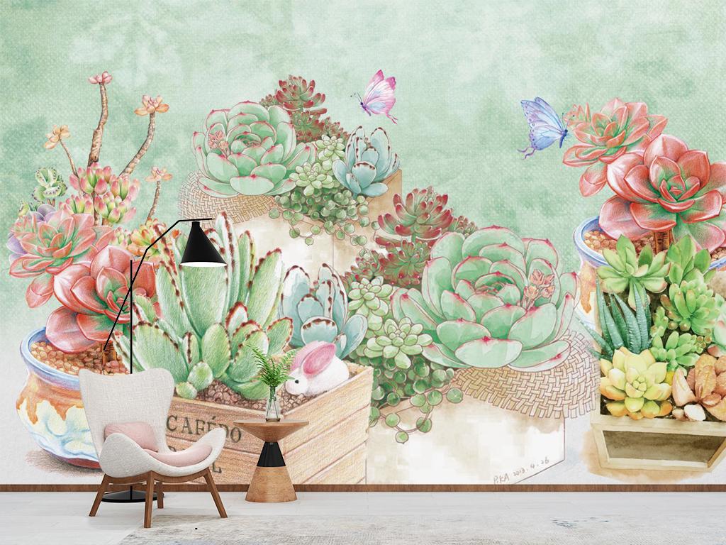森系田园清新手绘水彩多肉植物背景墙壁纸壁画