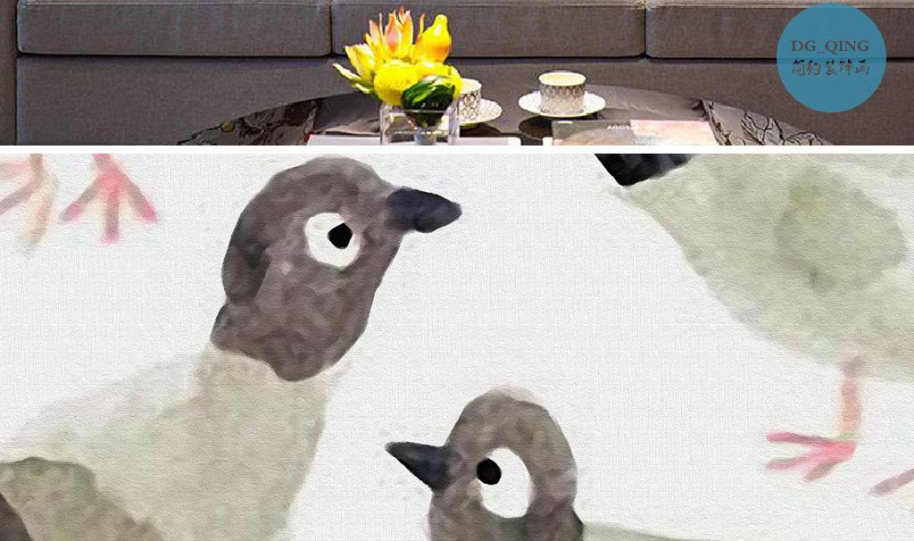 一群鸽子北欧小清新手绘水彩小鸟欧式装饰画