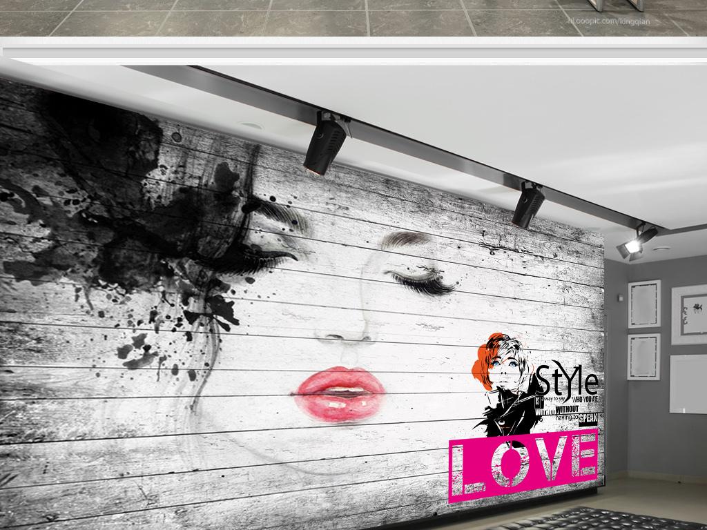 手绘涂鸦美女服装店背景墙