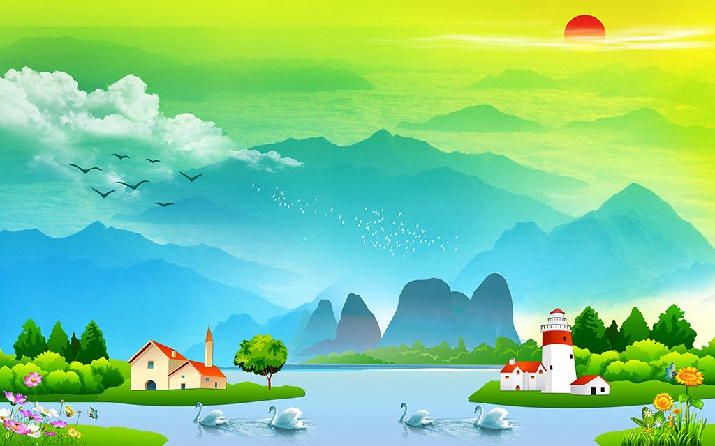 免抠元素 人物形象 动漫人物 > 漂亮山水风景儿童房间背景墙幼儿园