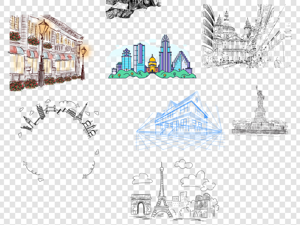 手绘线条建筑png背景素材