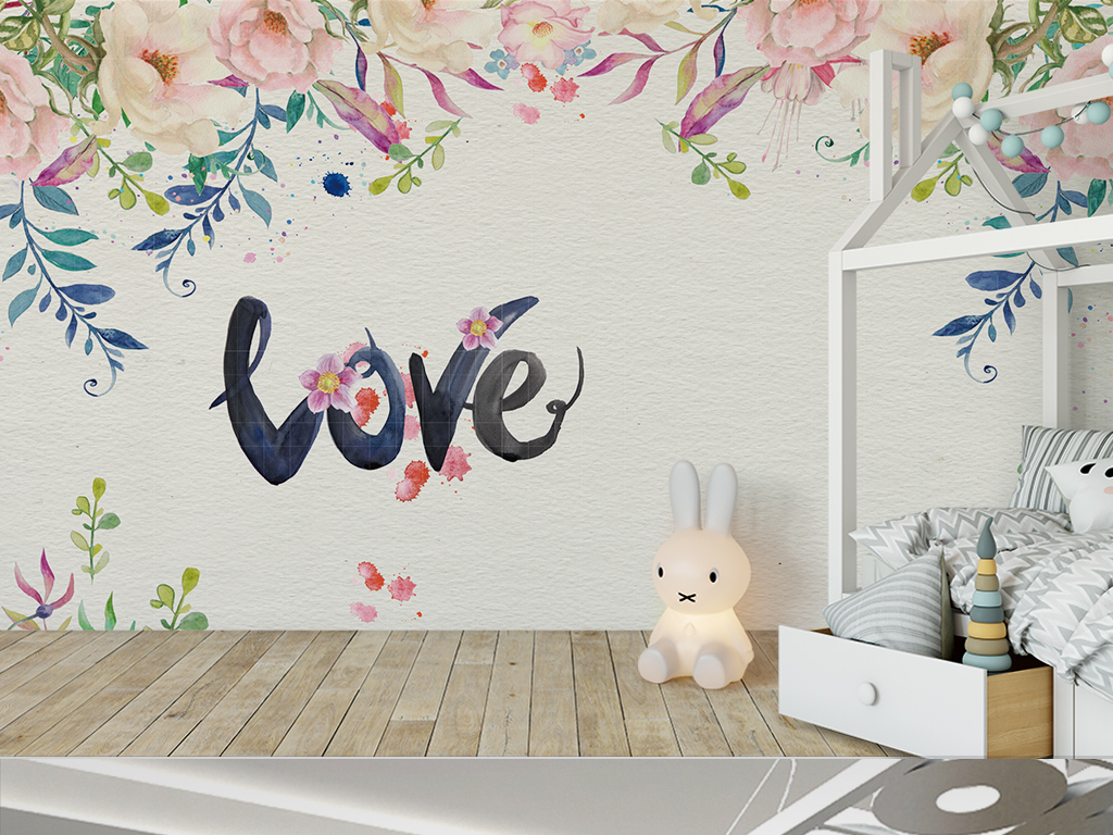 手绘水彩花卉love字房间浪漫背景墙