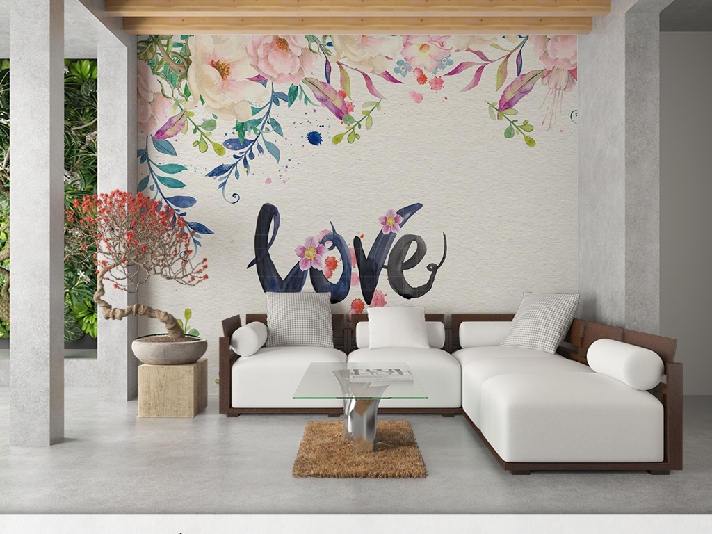 背景墙 电视背景墙 手绘电视背景墙 > 手绘水彩花卉love字房间浪漫
