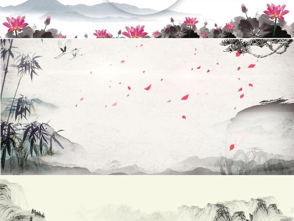 原创中国古风手绘水墨山水海报设计psd背景模板