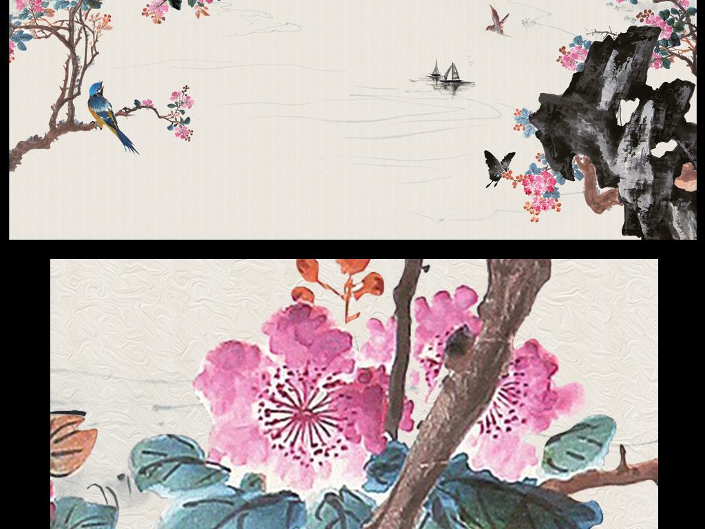 新中式手绘花鸟电视背景墙宁静致远