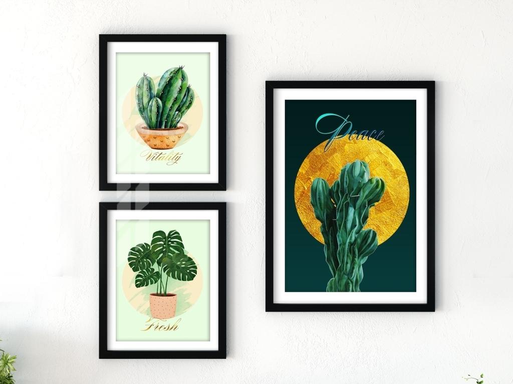 无框画 植物花卉无框画 > 北欧水彩植物装饰画仙人掌热带植物手绘装