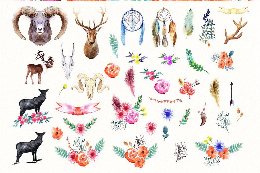 唯美手绘水彩鹿头花卉设计素材