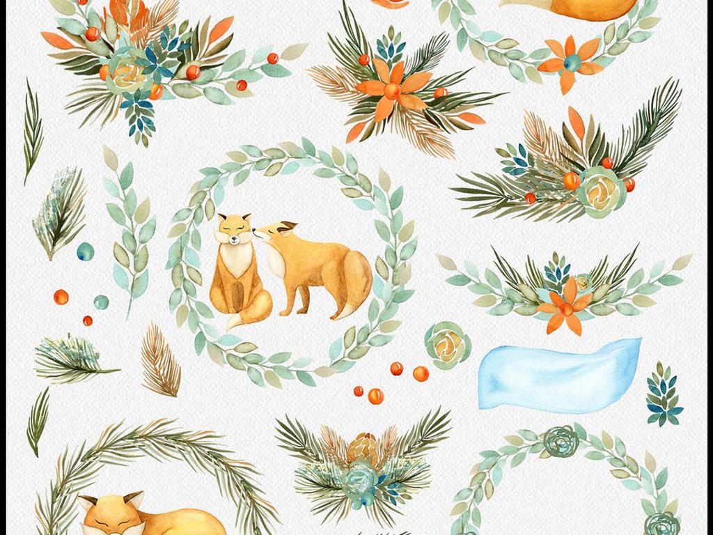 手绘水彩狐狸花卉花朵设计素材