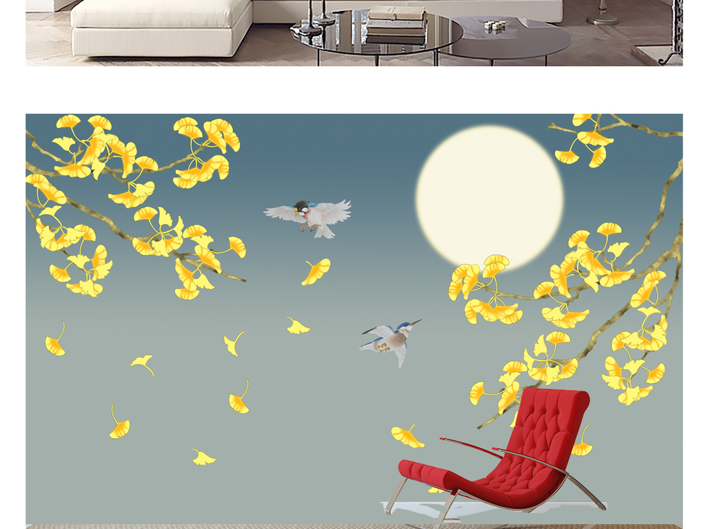 唯美意境手绘工笔银杏叶月夜花鸟装饰画背景墙